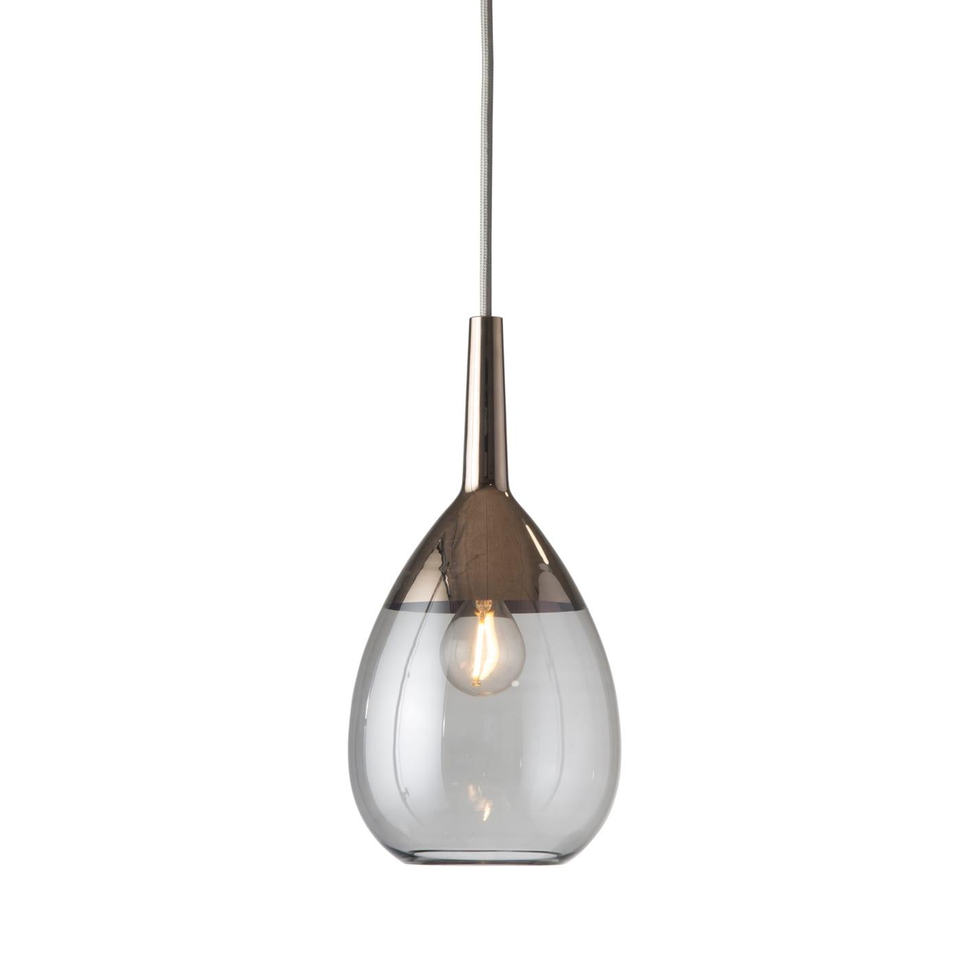 Lute Pendant Lamp, Smokey Grey / Platinum, 27cmH