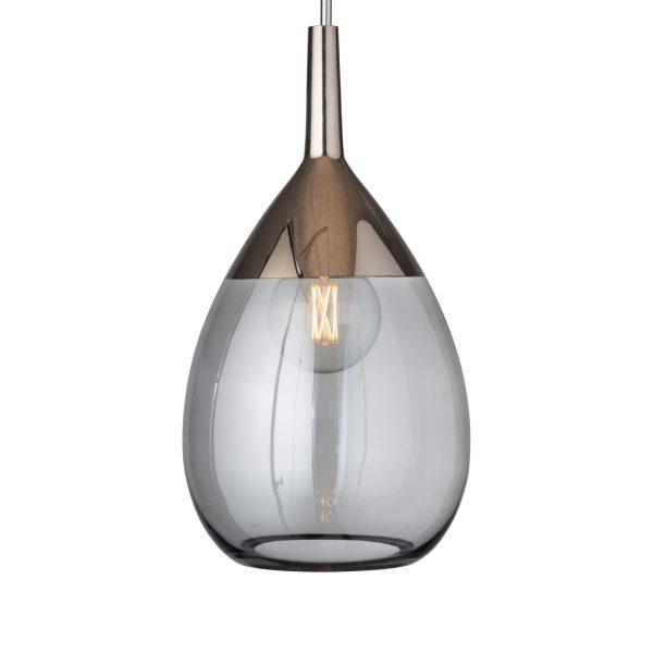 Lute Pendant Lamp, Smokey Grey / Platinum, 70cmH