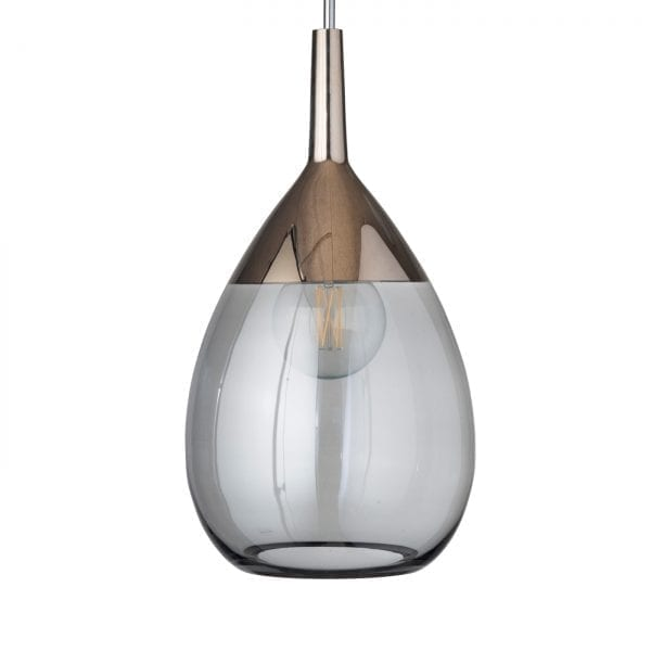 Lute Pendant Lamp, Smokey Grey / Platinum, 70cmH