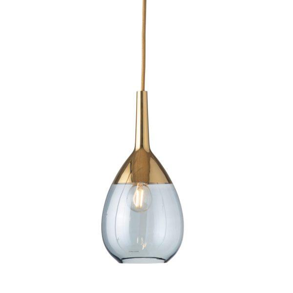 Lute Pendant Lamp, Topaz Blue / Gold, 27cmH