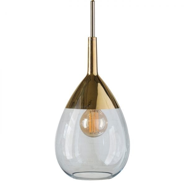 Lute Pendant Lamp, Topaz Blue / Gold, 49cmH