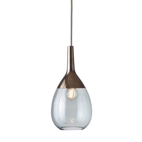 Lute Pendant Lamp, Topaz Blue / Platinum, 27cmH