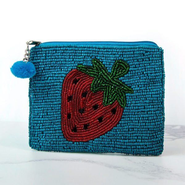 Red Strawberry Beaded Purse