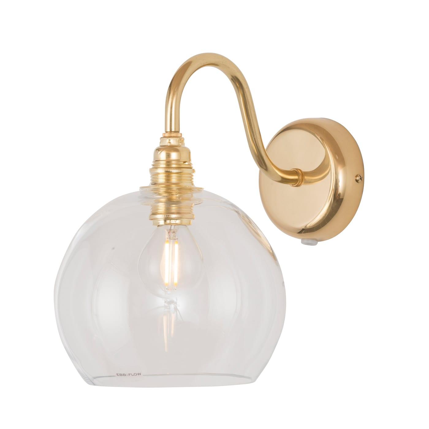 Rowan Wall Lamp, Clear w Gold, 15cm