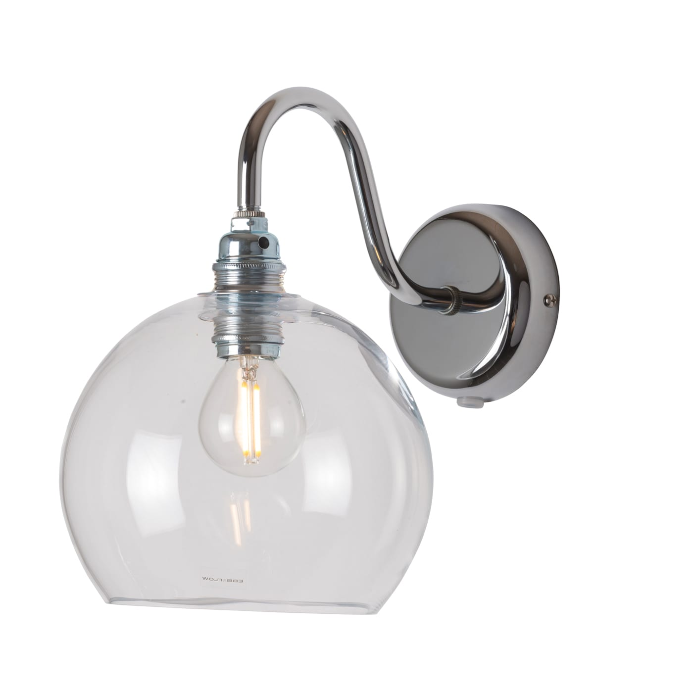 Rowan Wall Lamp, Clear w Silver, 15cm