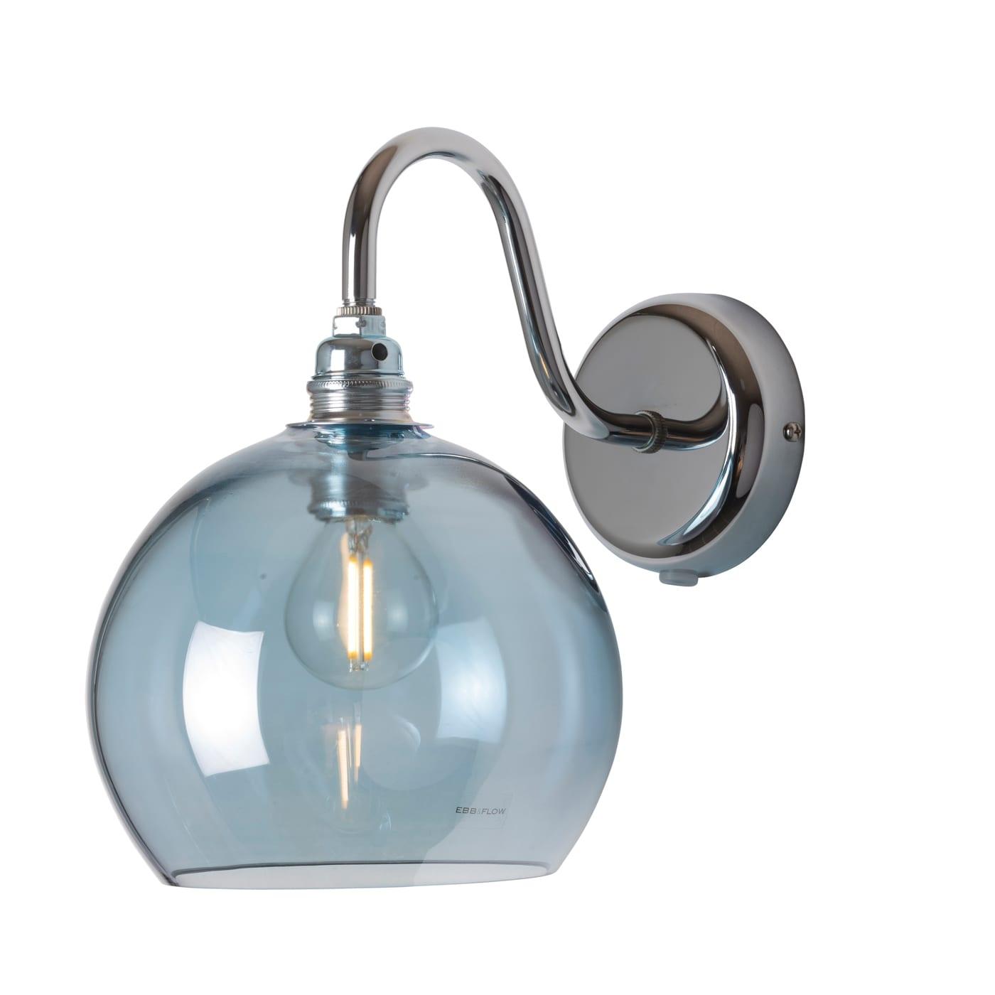 Rowan Wall Lamp, Topaz Blue, 15cm