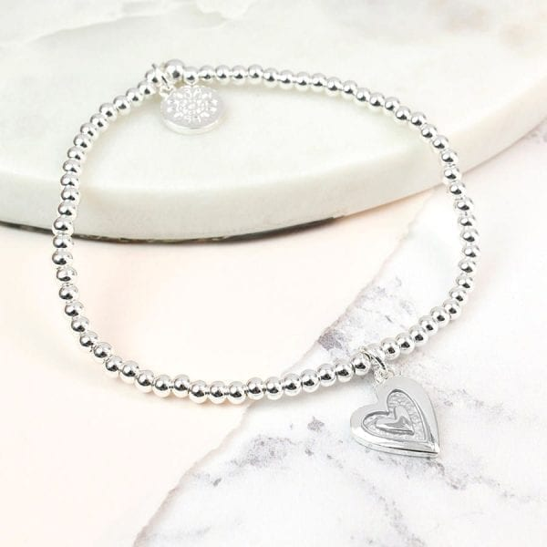 Silver Plated Grey Enamel Heart Bracelet