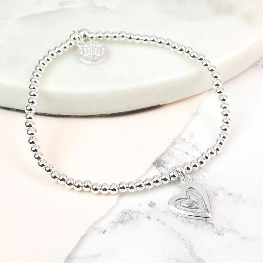 Silver Plated Grey Enamel Heart Bracelet