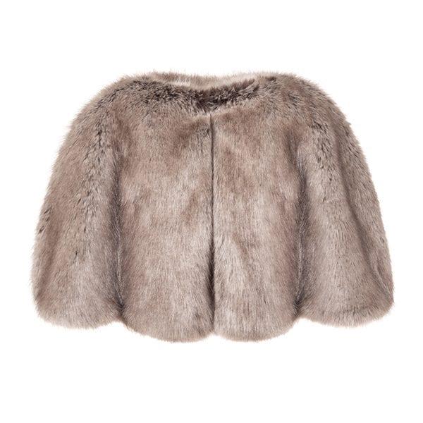 Truffle Faux Fur Cape