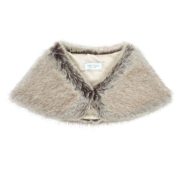 Truffle Faux Fur Petite Bridal Wrap