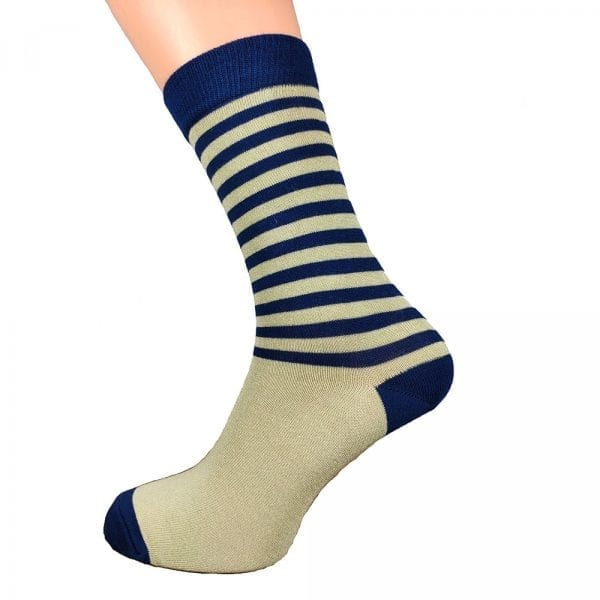 Blue & Cream Stripe Bamboo Socks