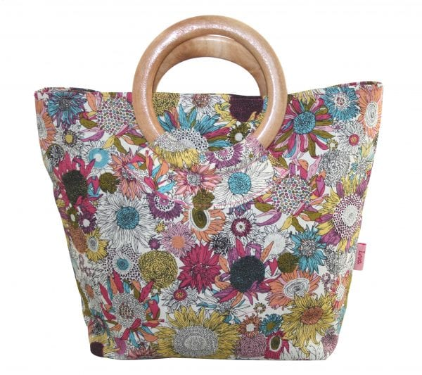 Hot Sunflower Round Wood Handle Bag
