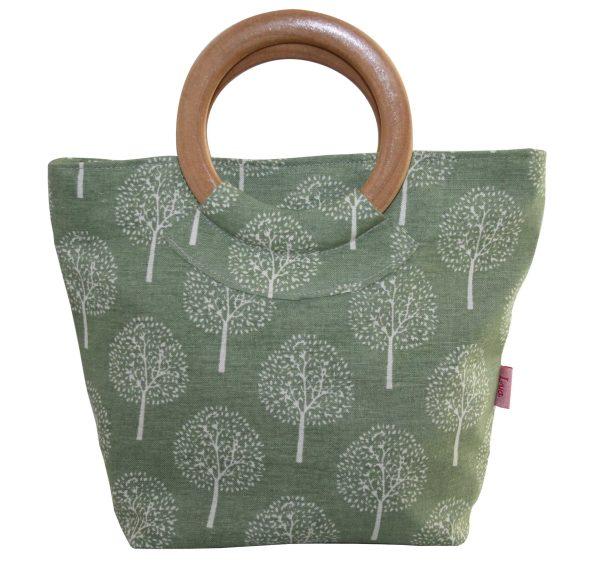 Light Olive Mulberry Tree Round Wood Handle Bag