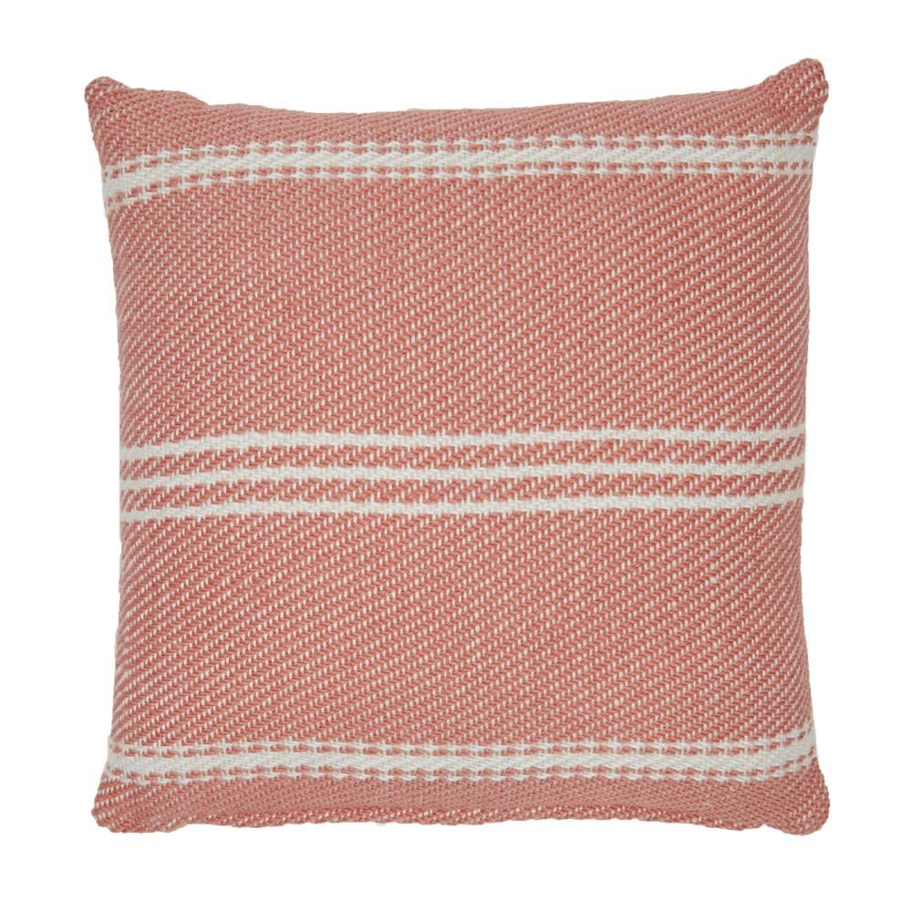 Lightweight Coral Oxford Stripe Cushion