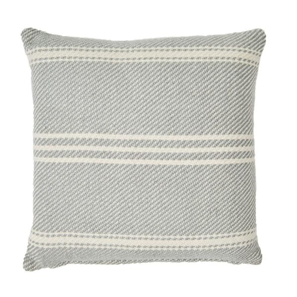 Lightweight Dove Grey Oxford Stripe Cushion