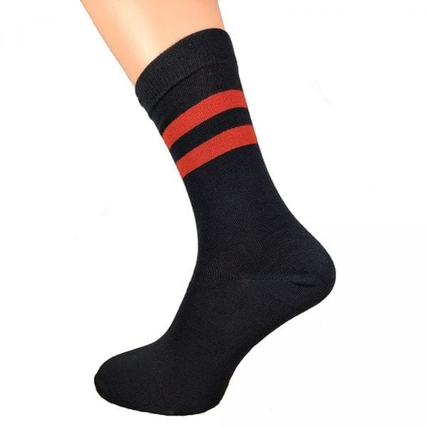 Red Striped Black Bamboo Socks