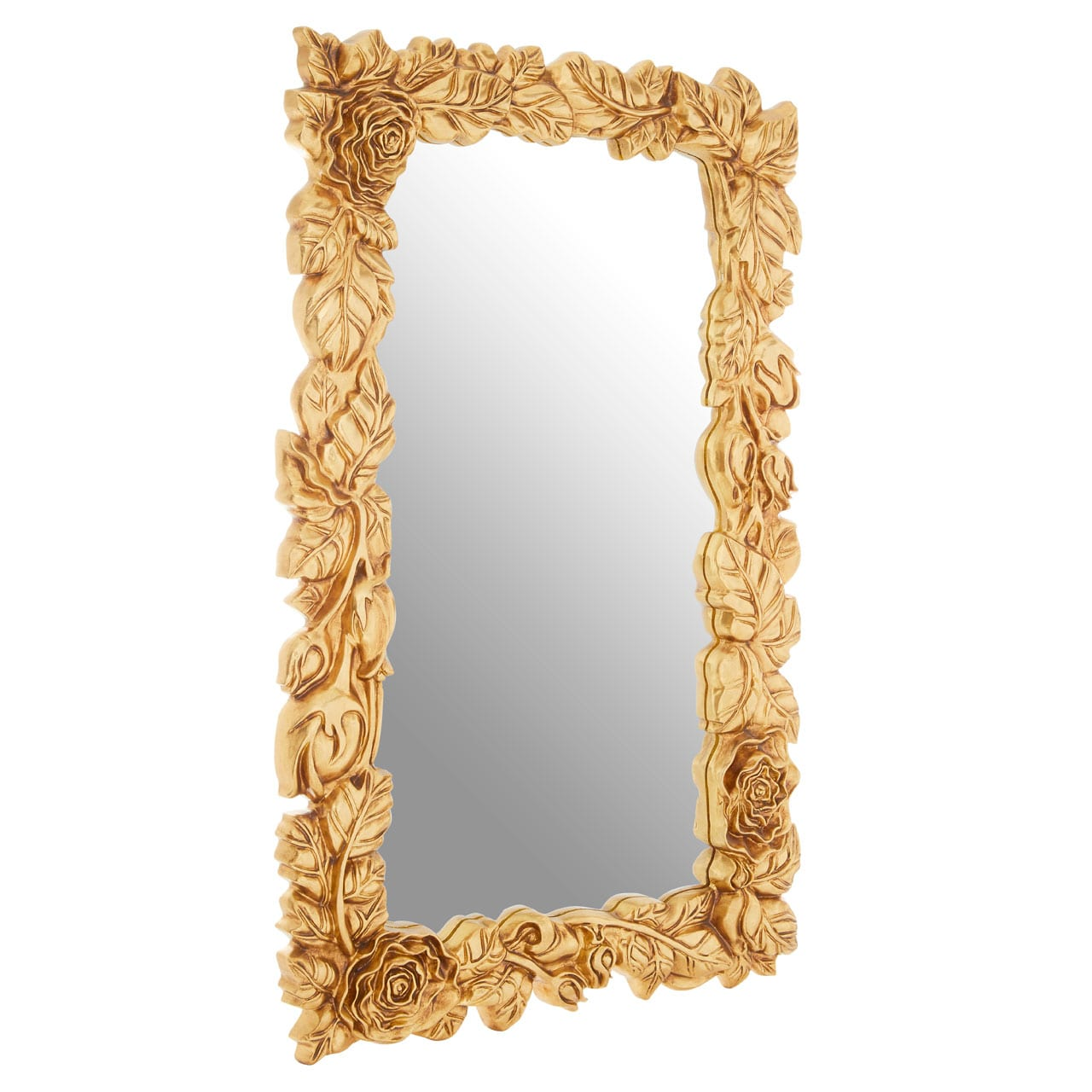Cannes Gold Floral Frame Wall Mirror