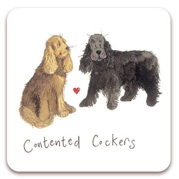 Contented Cockers Dog Coaster