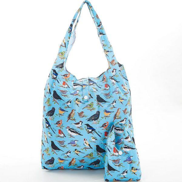 Blue Wild Birds Foldaway Shopper