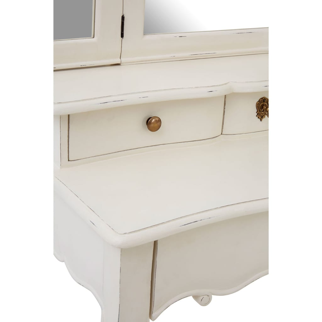 Bourges White Dressing Table With Mirror