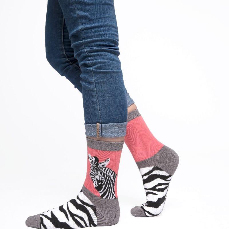 Coral Wild Zebra Socks