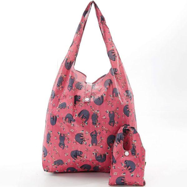 Fuchsia Sloth Foldaway Shopper