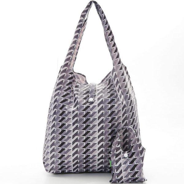 Grey Geometric Foldaway Shopper