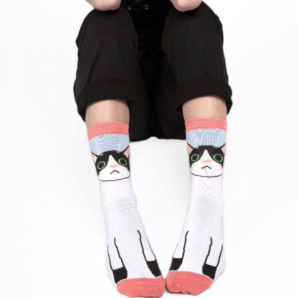 Powder Blue Kitty Cat Socks