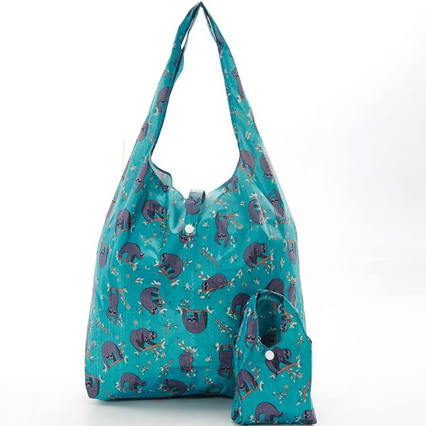 Teal Sloth Foldaway Shopper