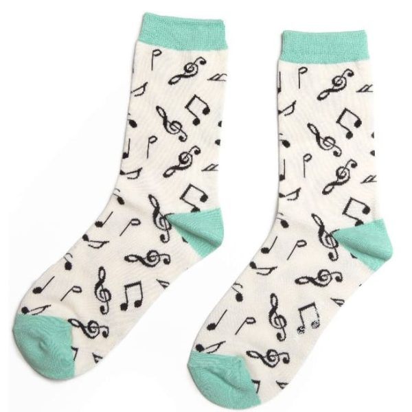 White Music Notes Socks