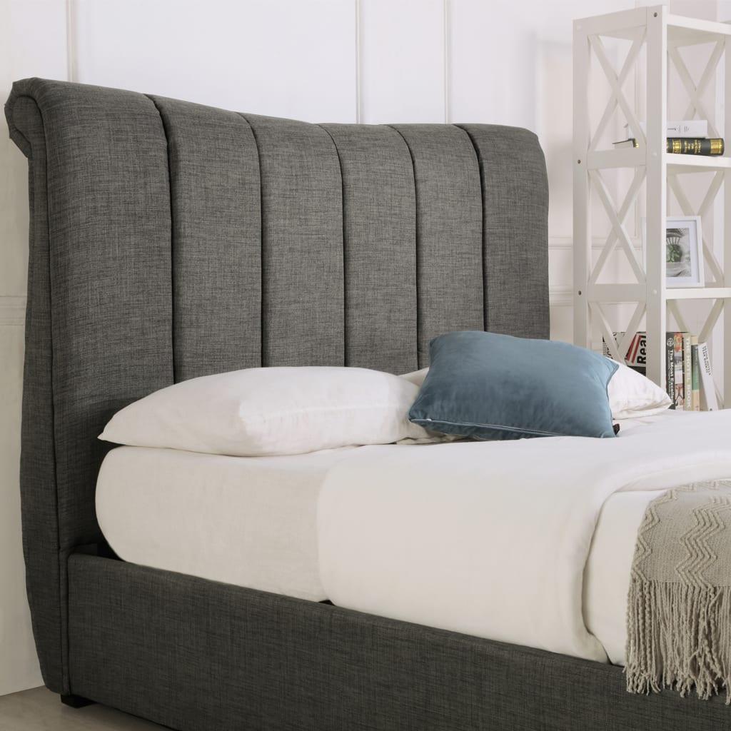 Bosworth Fabric Sleigh Ottoman Bed Grey