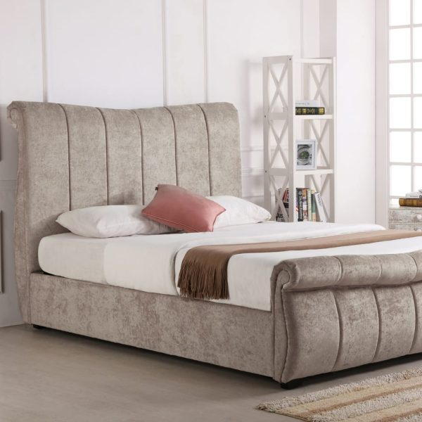 Bosworth Fabric Sleigh Ottoman Bed Stone