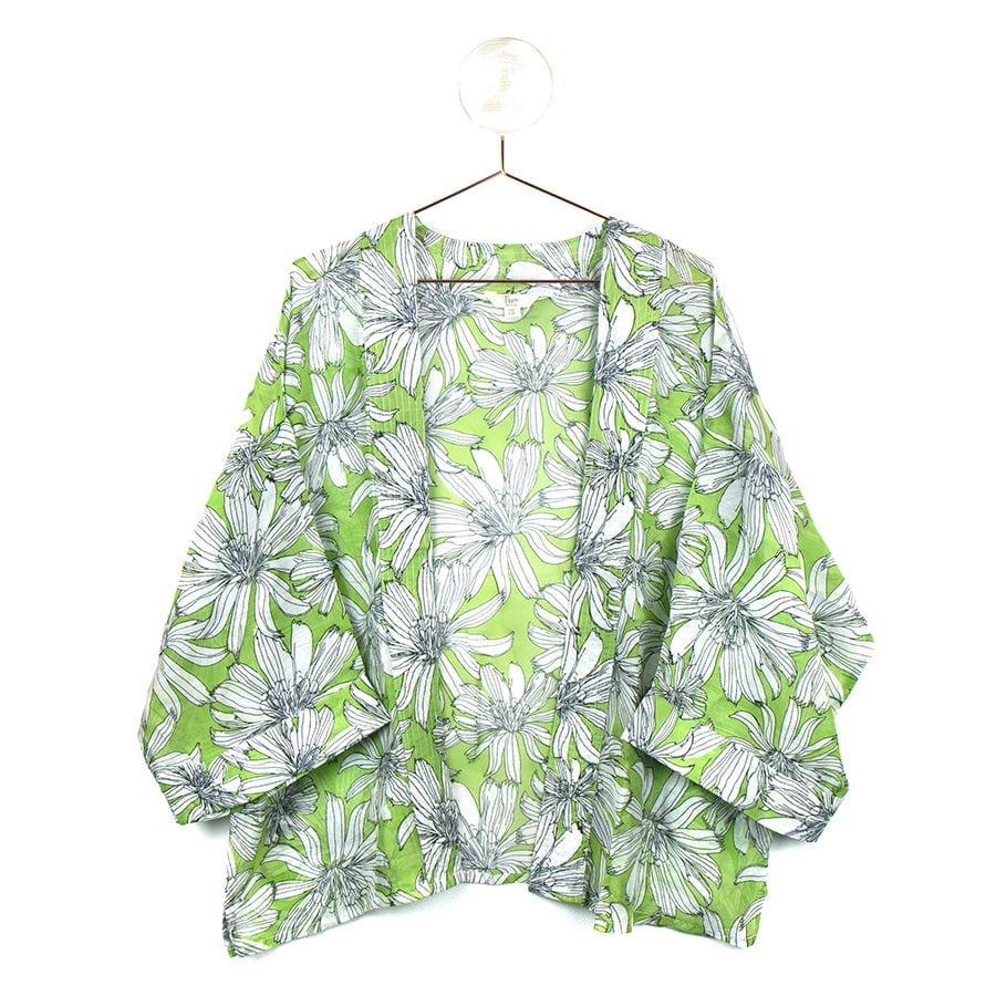 Green Large Flower Kimono