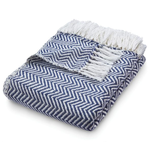 Herringbone Navy Throw