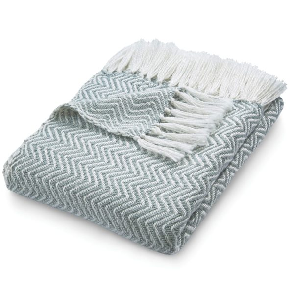 Herringbone Sky Grey Throw