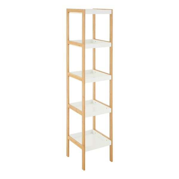 Onze Five Tier White Bamboo Shelf Unit