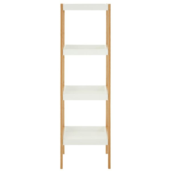 Onze Four Tier White Bamboo Shelf Unit