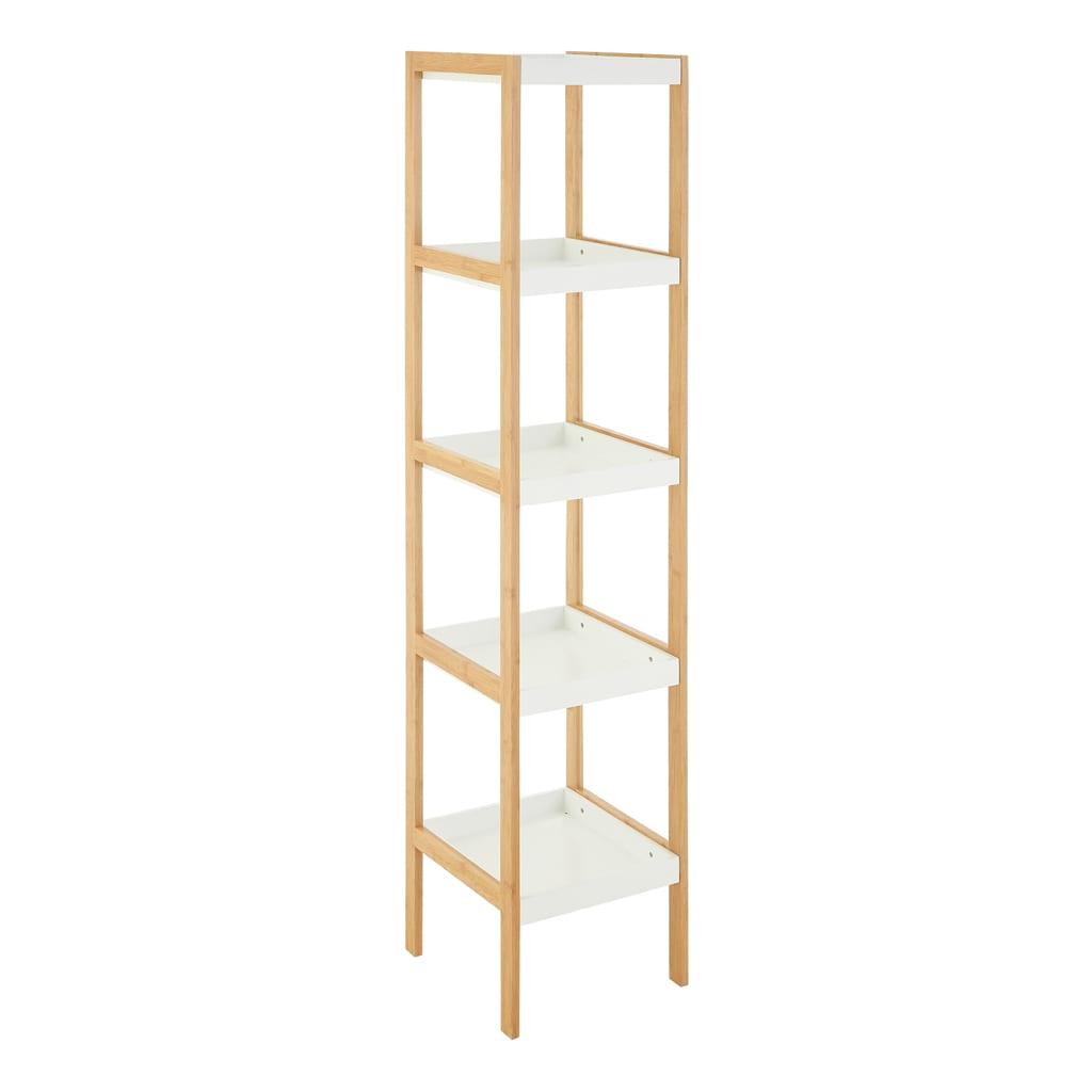 Onze Four Tier White Bamboo Shelf Unit