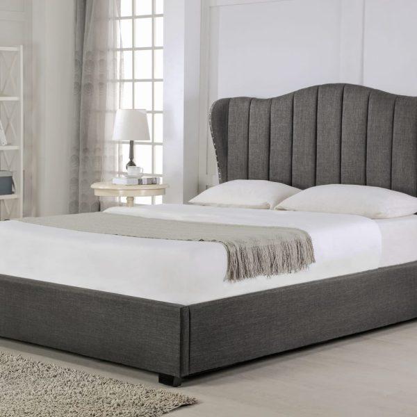 Sherwood Fabric Sleigh Ottoman Bed Grey