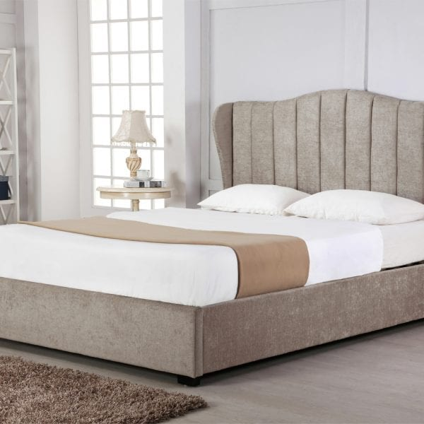 Sherwood Fabric Sleigh Ottoman Bed Stone