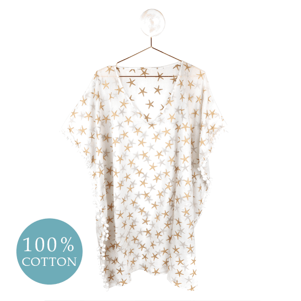 White Cotton & Gold Starfish Kaftan