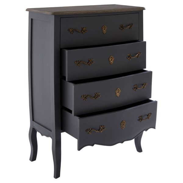 Bourges 4 Drawer Dark Grey Chest