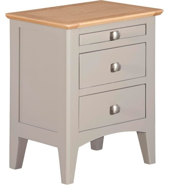 Evelyne Grey 3 Drawer Bedside