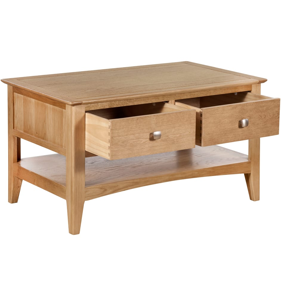 Evelyne Natural 2 Drawer Coffee Table The Haven Home Interiors