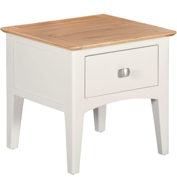 Evelyne White Lamp Table With Drawer