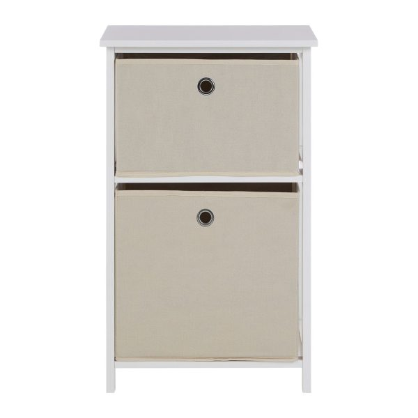 Lando 2 Drawer Natural Fabric Cabinet