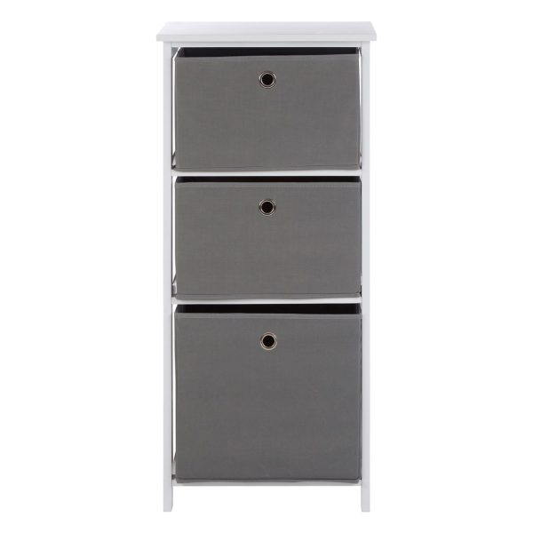 Lando 3 Drawer Grey Fabric Cabinet