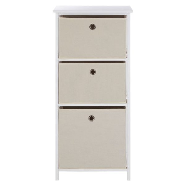 Lando 3 Drawer Natural Fabric Cabinet