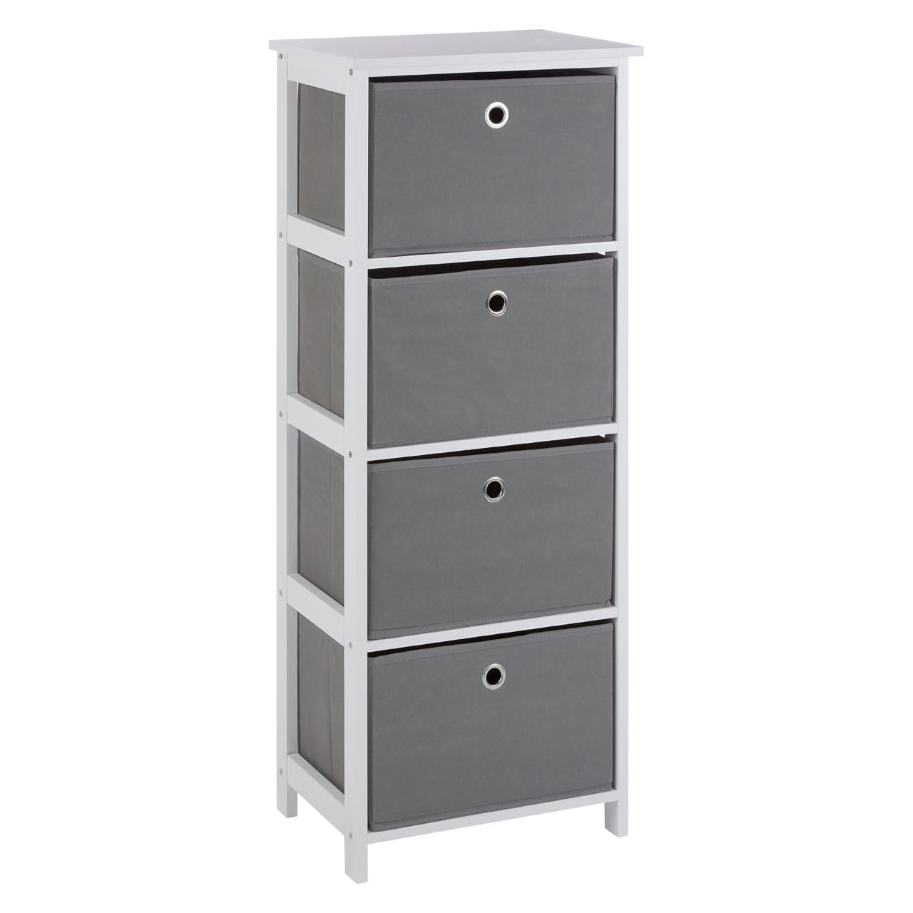 Lando 4 Drawer Grey Fabric Cabinet