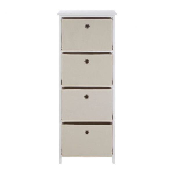 Lando 4 Drawer Natural Fabric Cabinet